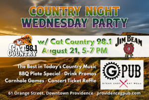 Country Night Wednesday Party with Cat Country 98.1 @ Providence GPub | Providence | Rhode Island | United States