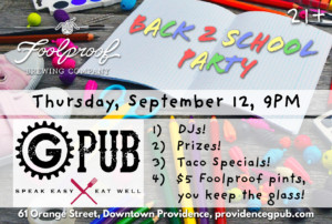 Back to School Party at GPub @ Providence GPub | Providence | Rhode Island | United States
