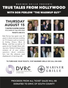 """True Tales From Hollywood with Bob Perlow """"The Warmup Guy"""" @ The Mariner Grille 