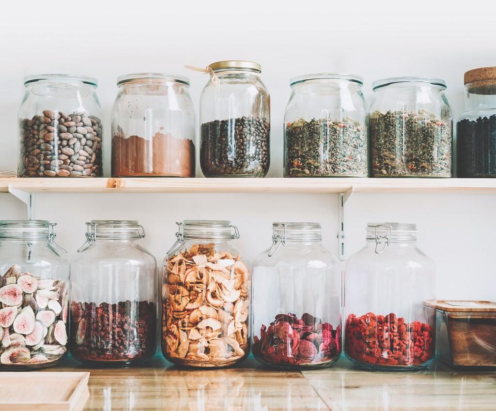 Organic Bulk Products In Zero Waste Shop. Foods Storage In Kitchen At Low Waste Lifestyle.