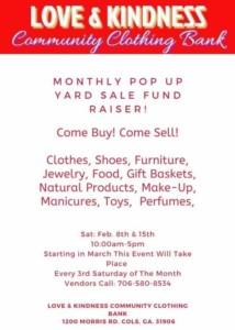 Pop Up Yard Sale @ Love & Kindness Community Clothing Bank
